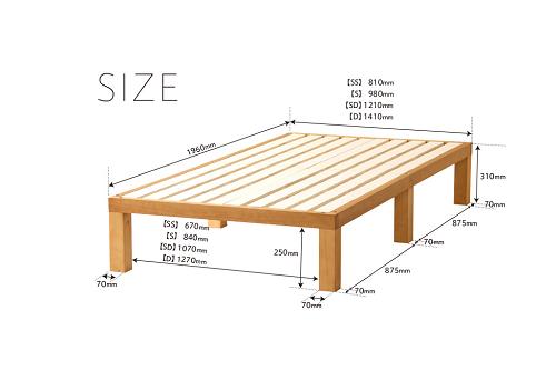 ベッド下に荷物の収納ができる高さのある「すのこ」ベッド(組み立て式、マットレスなし)