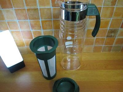 夏のお茶作りにおすすめ、かご網茶こし付水出しポット~ティーバックを容器に残さない茶ポット
